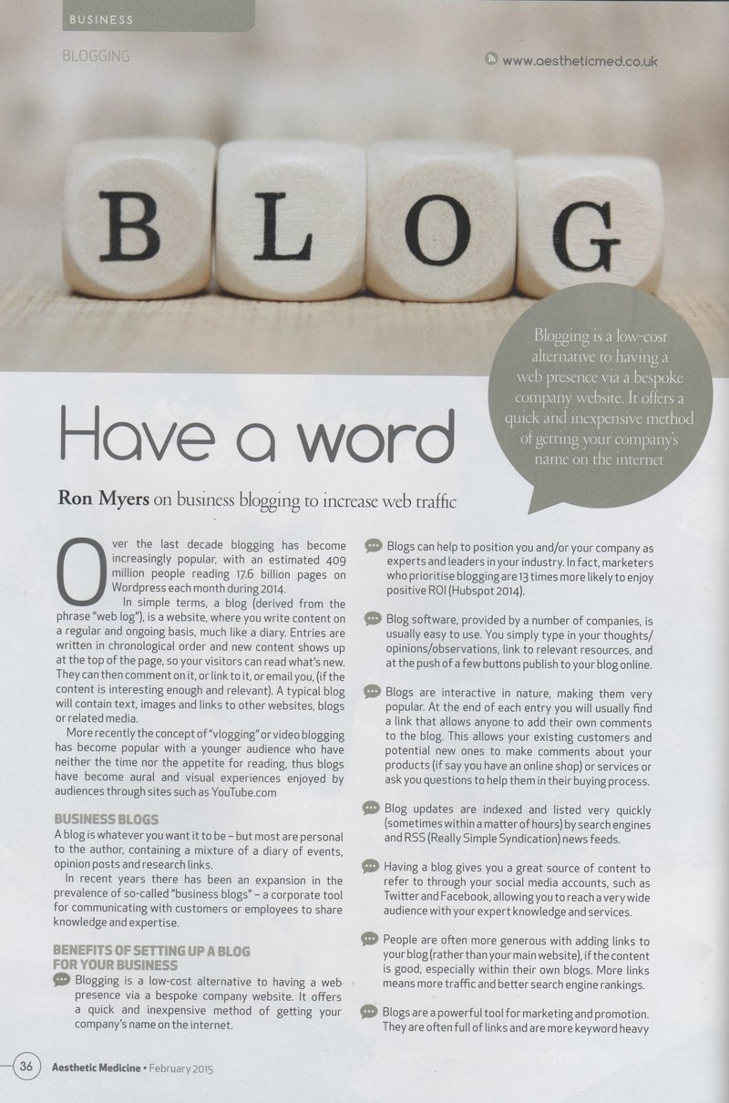 Have a word. Ron Myers on business blogging to increase web traffic