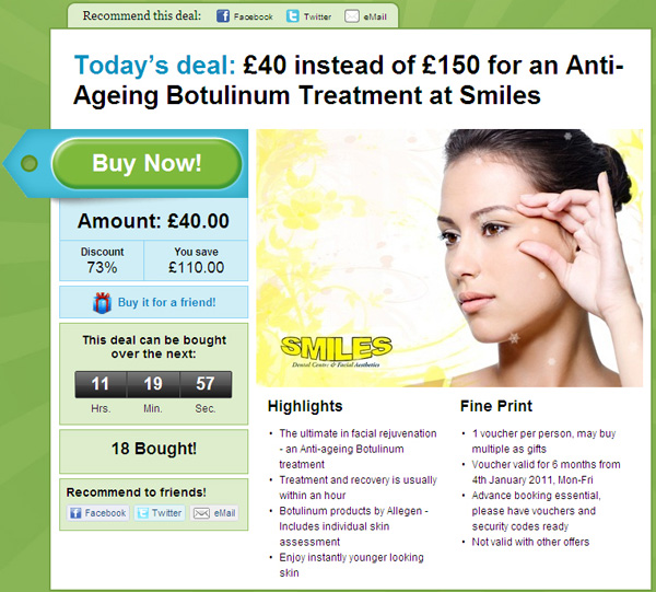 Groupon Advert - Botox in Cardiff Deal - Shocking