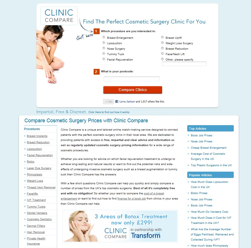 Clinic Compare Website With Transform Botox Advert