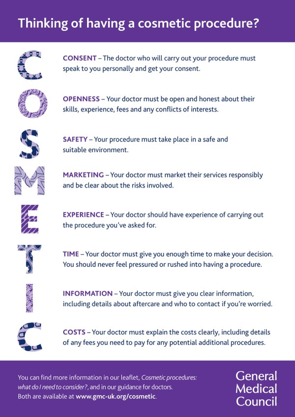 GMC Poster - Advice for Cosmetic Patients