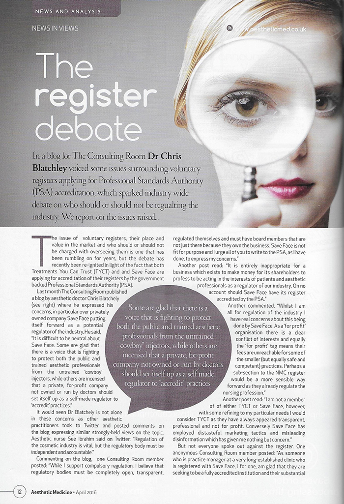 Aesthetic Medicine Magazine - April 2016 - The Register Debate - Page 1