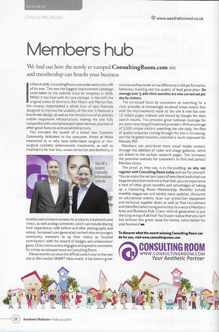 Aesthetic Medicine Magazine February 2017 - Consulting Room Revamp