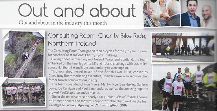 Consulting Room Charity Bike Ride 2016, Northern Ireland