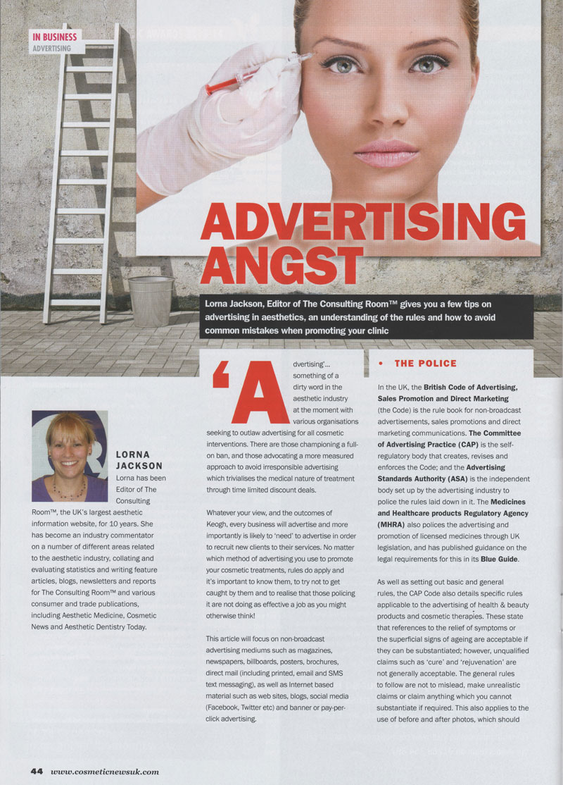 Cosmetic News May 2013 - Advertising regulations Page 1