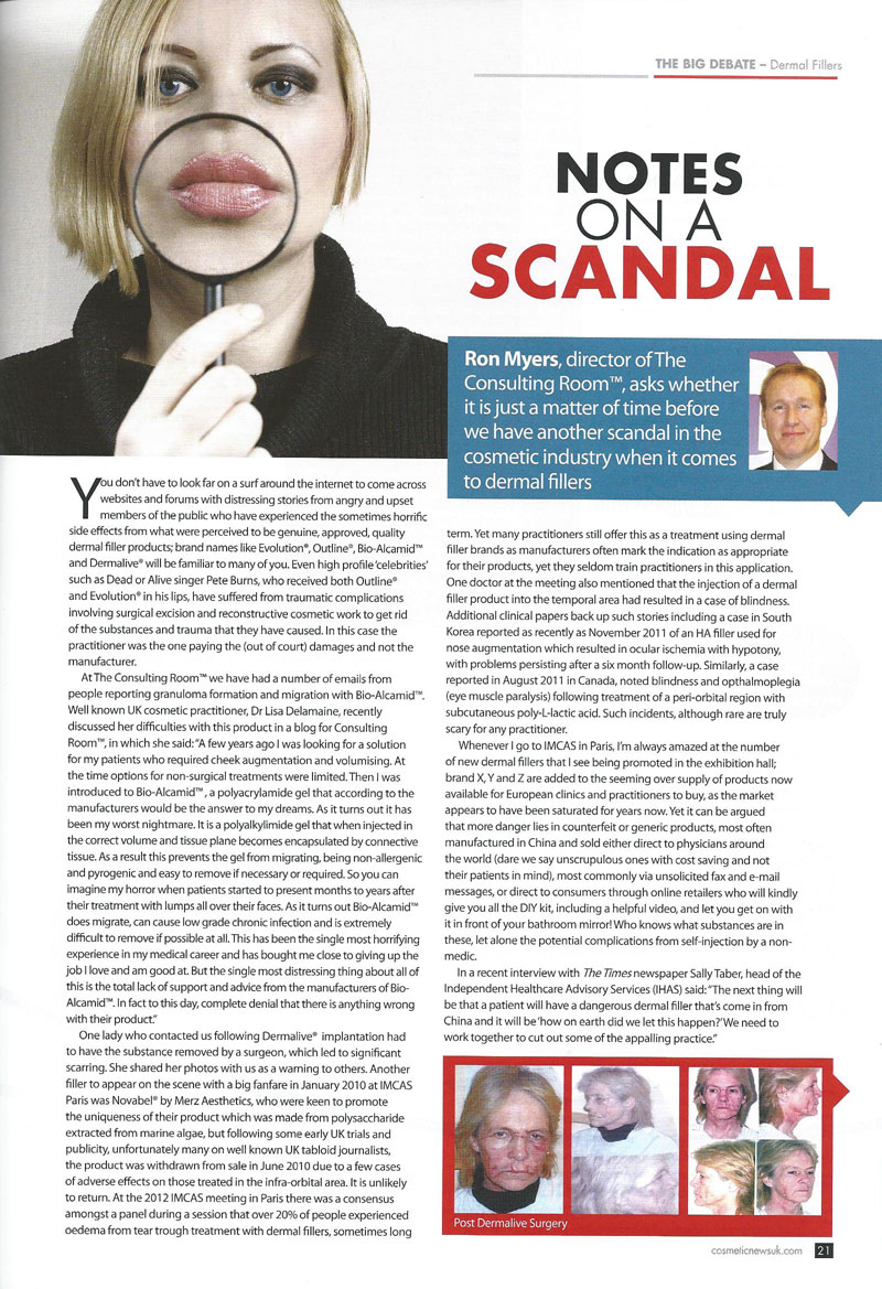 Cosmetic News - Dermal Filler Scandal - Page 1