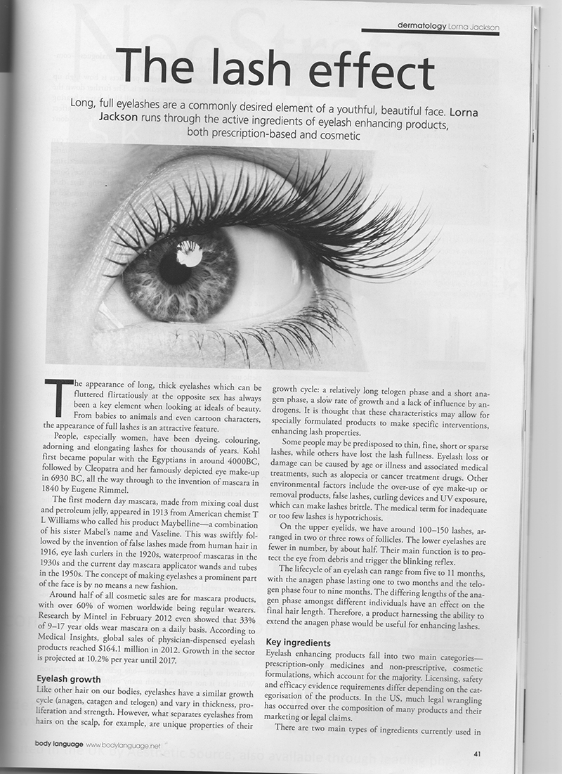 First page of The Lash Effect article in the magazine Body Language