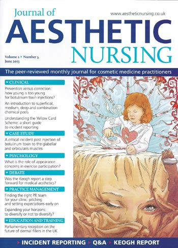 Journal of Aesthetic Nursing - June 2013 Cover