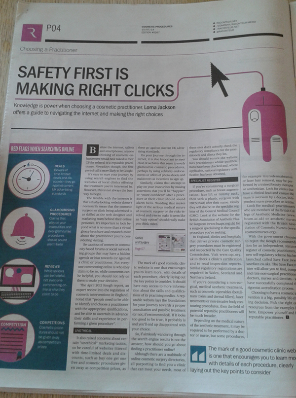 Raconteur Cosmetic Procedures - Safety First is Making Right Clicks