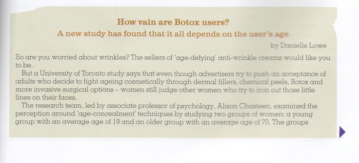 How vain are Botox Users? Sigma Statistics