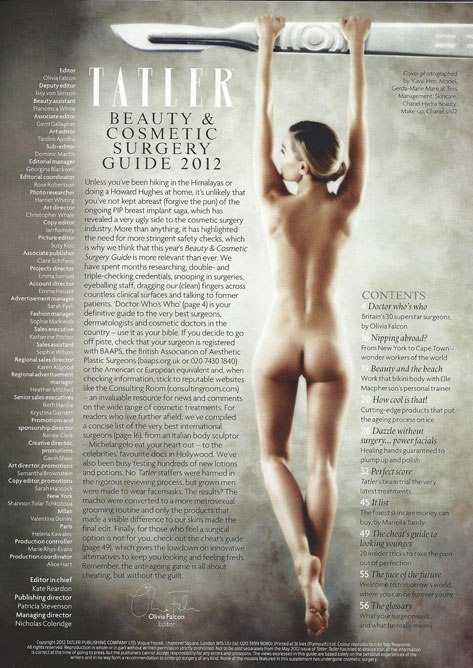 Tatler Beauty & Cosmetic Surgery Guide 2012 Editor's Note
