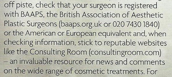 Tatler Beauty & Cosmetic Surgery Guide 2012 - Consultin Room Mention