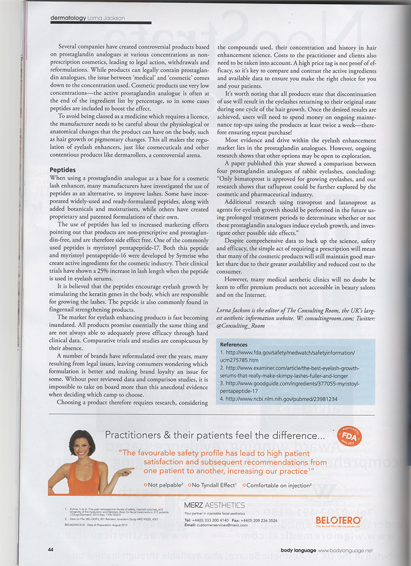 Third page of the article The Lash Effect in the magazine Body Language