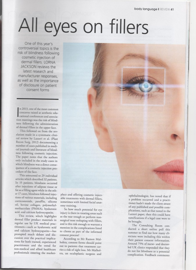 First page of article called all eyes on fillers